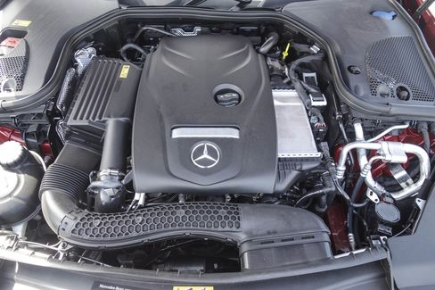 The 2017 Mercedes E300 has a 241-horsepower, inline-four cylinder engine.