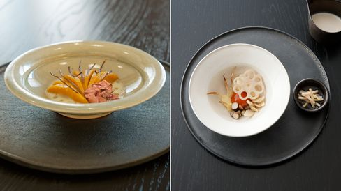 Hokkori pumpkin with salted cherry blossoms and cherry wood oil; a variety of root vegetables, pickled ginger, and a sticky cured egg.
