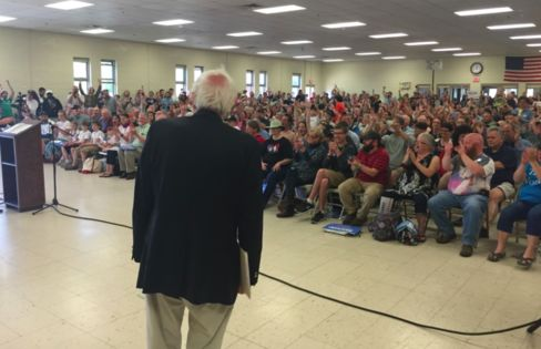 Vermont Senator Bernie Sanders looks out at a crowd of more than 750 people in Keene, N.H., on June 6, 2015.