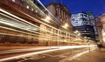 Light trails made by passing vehicles are seen outside the Bank of England (BOE), in London, U.K.