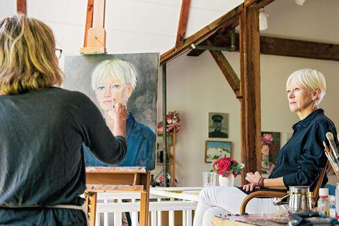 Coles at Cooper's studio in Connecticut.