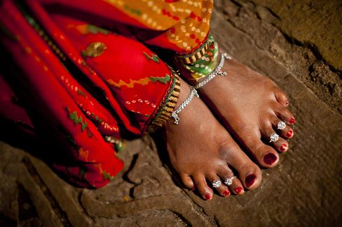 Toe rings on a woman's feet in India