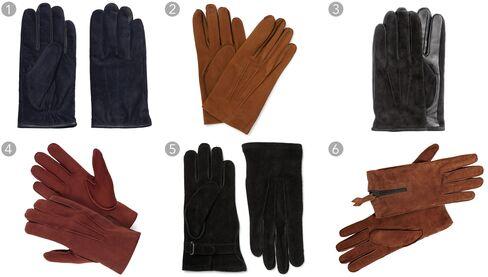 (1) Classic suede gloves, Gant $140, gant.com; (2) Scritto embossed nubuck gloves, Berluti $700, mrporter.com; (3) suede gloves, H&M $29.99, hm.com; (4) suede gloves in rust, Suit Supply $89, suitsupply.com; (5) suede gloves, Our Legacy $170, mrporter.com; (6) goat suede zip gloves, John Varvatos $298, johnvarvatos.com.