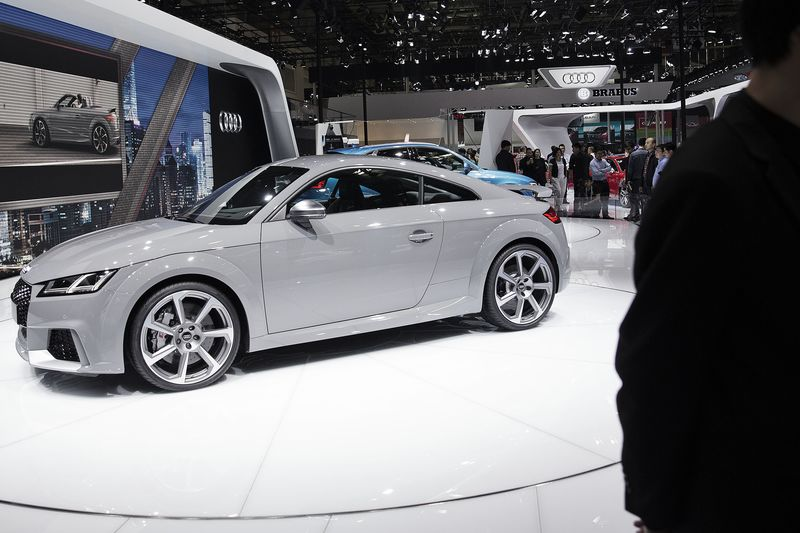 An Audi AG TT RS coupe stands on display at the Beijing International Automotive Exhibition.