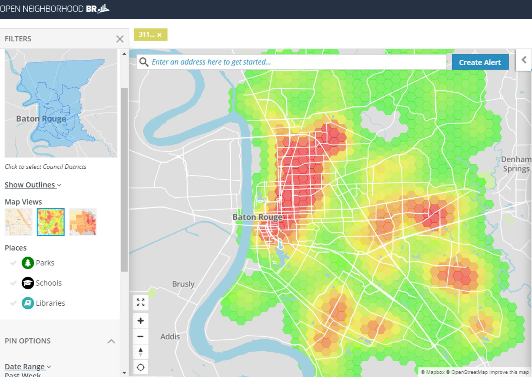 The Open Data BR platform in Baton Rouge, Louisiana,allows residents to track 311 calls by location.