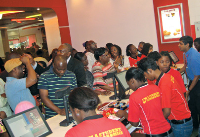 Lining up at a new KFC in Ghana