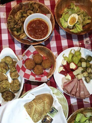 Antipasti meets fried calarami plus baked clams at Mamma G's.