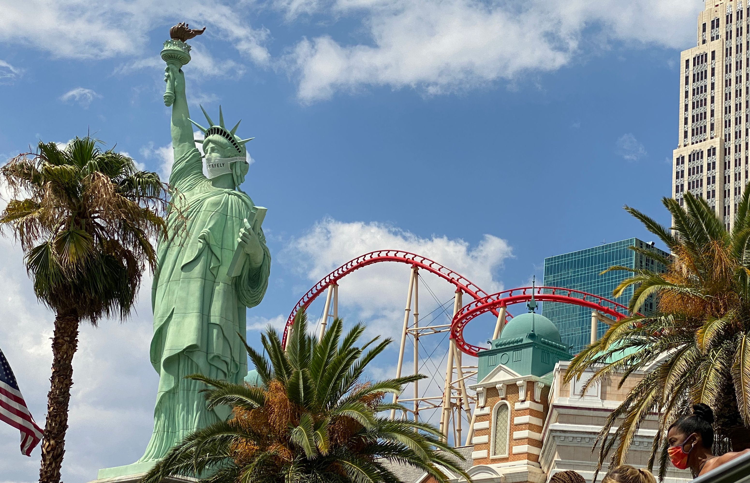 The Statue of Liberty replica in Las Vegas, Nevada wears a mask on Aug. 29.