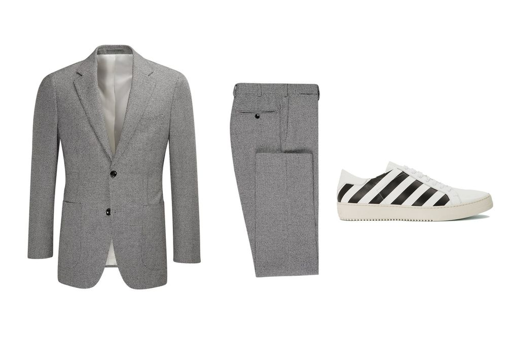 2960732a88c How to Flawlessly Pull Off Sneakers with Your Suit - Bloomberg