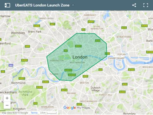 Currently you can only get food delivered to you if you live - or work - in central London.