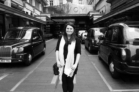 AuthorWilliams, whose Gin Glorious Gin charts gin's journey to contemporary cool, stands in front of the Savoy Hotel.