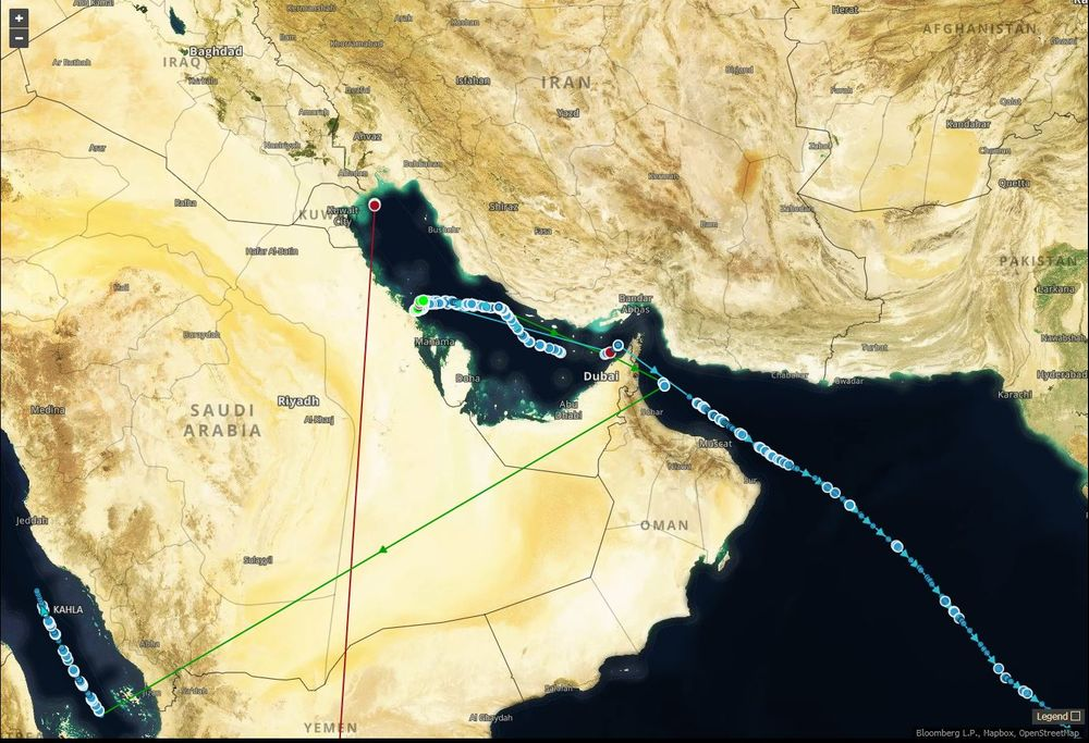 Multiple ships' signals disappeared from tracking after loading in the Persian Gulf