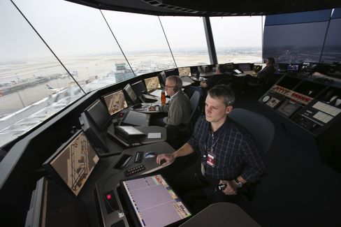 Inside the air traffic control tower operated by Nav Canada at the Montreal Pierre Elliott Trudeau International Airport in 2012.