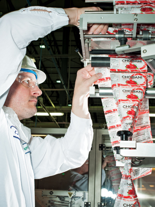 """Yogurt containers getting """"sleeved"""" at Chobani's New York plant"""