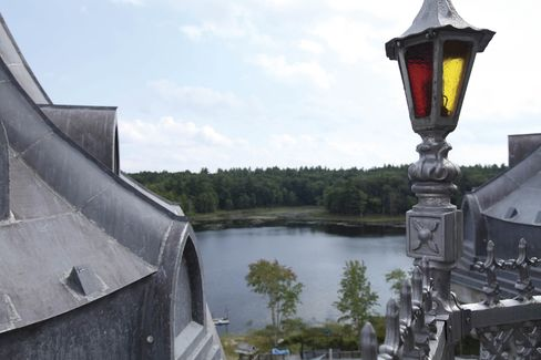 The castle looks out over 30-acre Potter Pond.