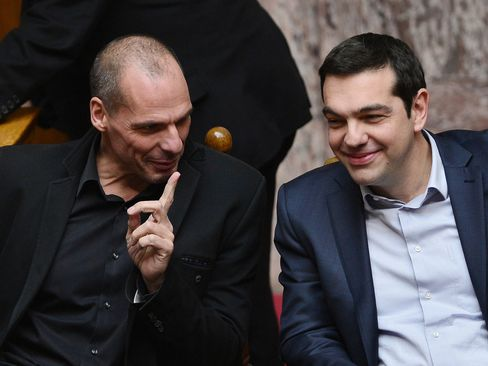 Greek Finance Minister Yanis Varoufakis and Greek Prime Minister Alexis Tspiras.