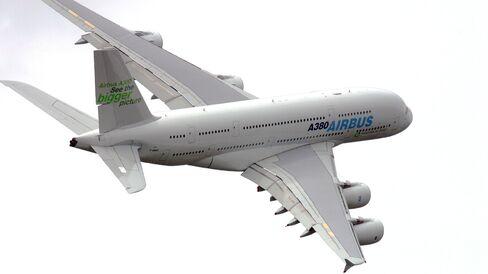 An Airbus SAS A380 superjumbo jet at the Farnborough International Airshow.