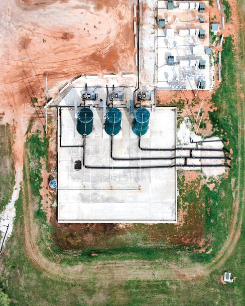 An aerial view of Deep Throat, New Dominion's flagship disposal well in Oklahoma City.