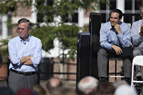 Jeb Bush, left, waits to take the stage as his son Jeb Bush Jr., right, looks on during a campaign event in Pella, Iowa.