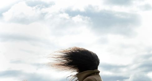 A Woman's Hair Blows in the Wind in Germany