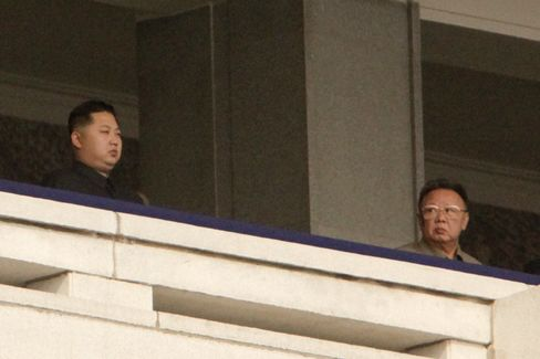 Kim Jong Un and Kim Jong Il at a Military Parade