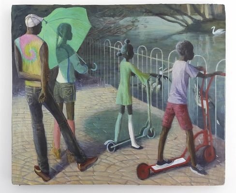 A painting by Benjamin Senior, Summer (Lake) (2016), brought to Frieze by James Fuentes.