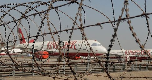 Grounded Kingfisher Airlines aircrafts in 2012