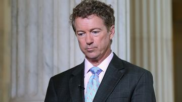 U.S. Sen. Rand Paul (R-KY) prepares to do a live interview with FOX News in the Russell Senate Office Building rotunda on Capitol Hill June 1, 2015 in Washington, DC.