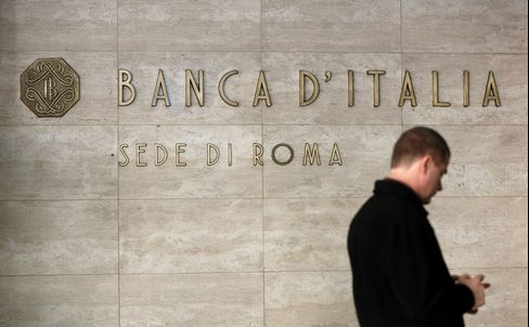 A sign sits outside the entrance to the Banca d'Italia, Italy's central bank, in Rome