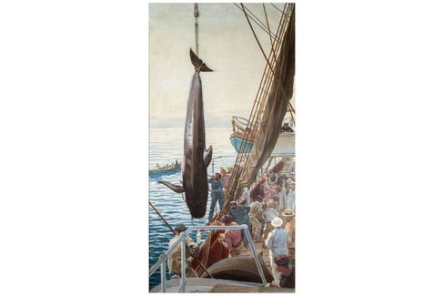 Hoisting a whale aboard the Prince's yacht by Louis Tinayre, 1909