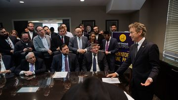 Presidential candidate Senator Rand Paul, R, KY, speaks to leaders of the Jewish community at the National Society for Hebrew Day Schools at Torah Umesorah in Brooklyn, NY,  Monday, April 27, 2015.