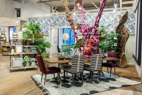 A dining room at Anthropologie's expanded store in Portland.