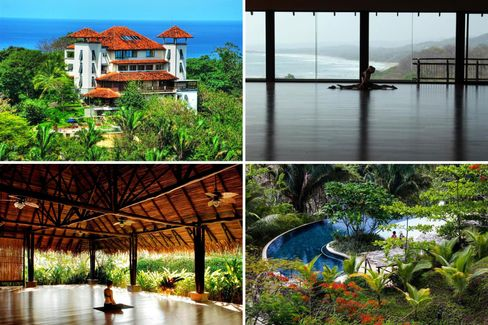 Clockwise from top left: the exterior; yoga with a view; the verdant grounds; outdoor meditation.