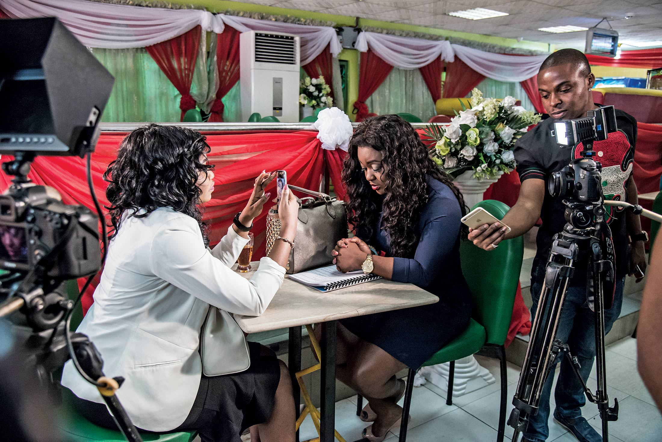 A scene from the Lagos set of Walking Away, a film from ROK Studios and Divine Touch Productions.