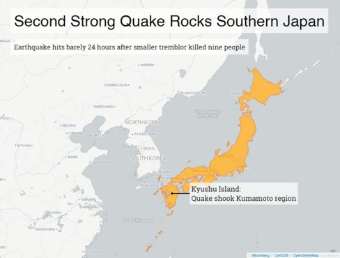 Second Strong Quake Rocks Southern Japan