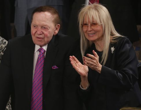 Sheldon and Miriam Adelson at Israeli Prime Minister Benjamin Netanyahu's address to a joint session of Congress on March 3.