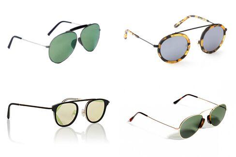 (左上から時計回りに)アクネ・スタジオ(410ドル)、クルー(275ドル)、LGR(330ユーロ)、ギャレット・ライト(495ドル)のサングラス