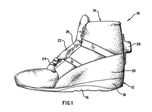 A drawing from Reebok's original Pump patent.