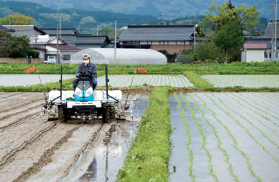 A farmer runs a rice-planting machine in the town of Shonai, Yamagata prefecture