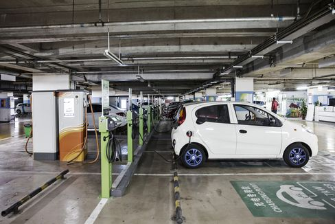 An electric car charging station in Beijing.