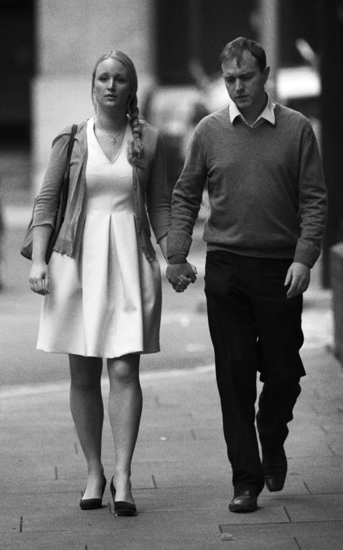 Former trader Tom Hayes and his wife Sarah arrive at Southwark Crown Court in London on August 3.