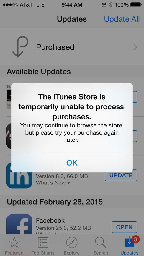 iTunes Outages
