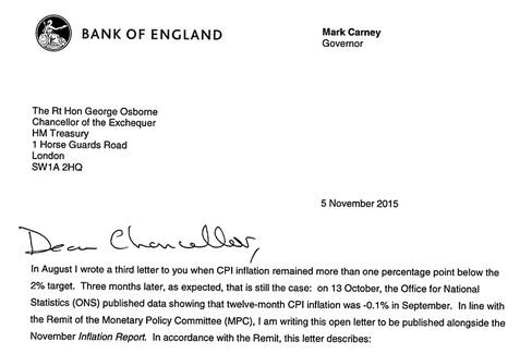 Letter from Bank of England Governor Mark Carney to U.K. Chancellor George Osborne