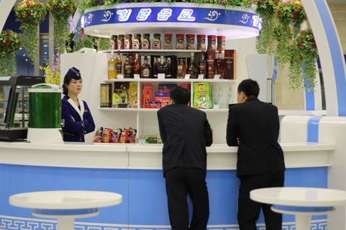 A food stand inside the newly renovated Pyongyang Airport.