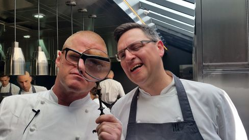 Heston Blumenthal focuses on his new kitchen at the Fat Duck with head chef Johnny Lake.