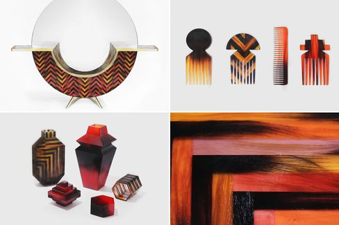 Studio Swine's Hair Highway series uses human hair and bio resin as a material to create furniture, combs, and small boxes.