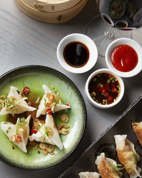 The menu includes dumplings, which are made in-house.