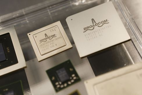 Chips are Displayed at Broadcom Corp. Headquarters