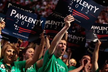 Supporters of former Minnesota Governor Tim Pawlenty cheer for the Republican presidential candidate during the Iowa Straw Poll in Ames on Aug. 13, 2011.