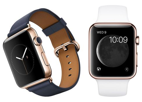 The 42 mm, 18 karat rose-gold Apple Watch Edition with a midnight blue classic buckle (left) and a white sports band.